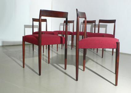 Sechs Palisander Esszimmerstühle.