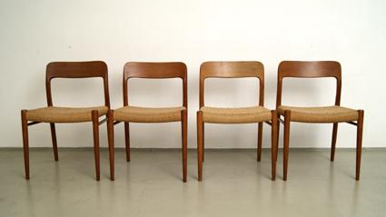 Vier Dänische Stühle. Teak U0026 Kordelbespannung. Design: N.O. Møller Modell:  75. Hersteller: A/S J.L. Møllers Møbelfabrik Entwurf: 1954