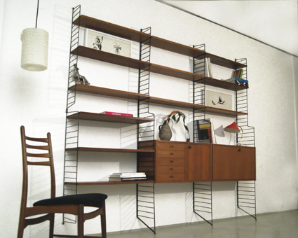 String Regal magasin möbel teak string shelving system