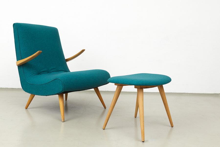 magasin m bel 50er jahre sessel mit hocker 497. Black Bedroom Furniture Sets. Home Design Ideas