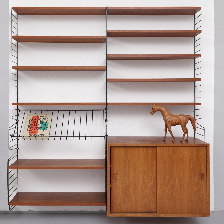 magasin m bel mid century modern string teak shelving system 670. Black Bedroom Furniture Sets. Home Design Ideas