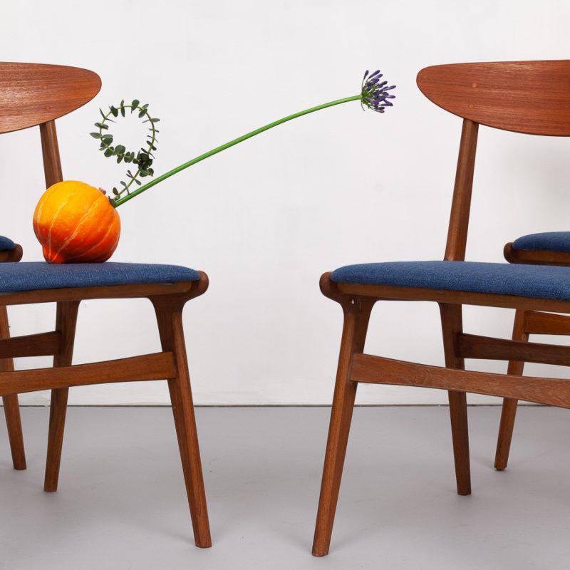 magasin m bel set 4 st ck 50er jahre teak st hle 747. Black Bedroom Furniture Sets. Home Design Ideas